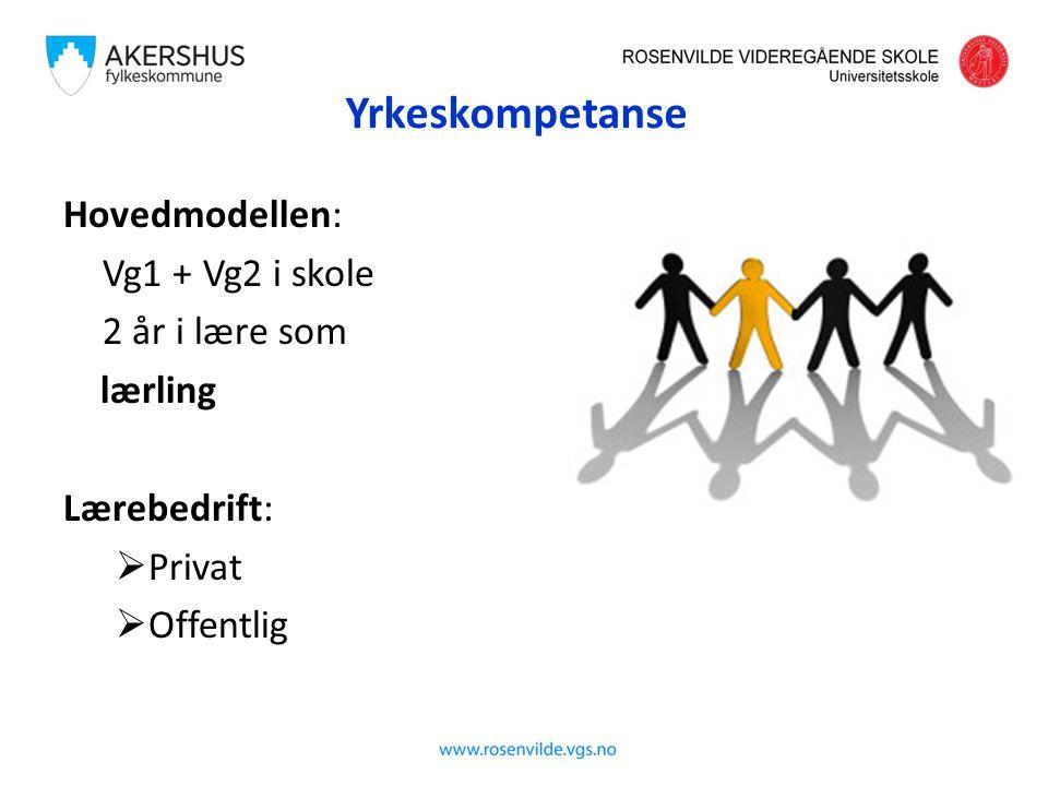 Yrkeskompetanse Hovedmodellen: Vg1 + Vg2 i skole 2 år i lære som lærling Lærebedrift:  Privat  Offentlig