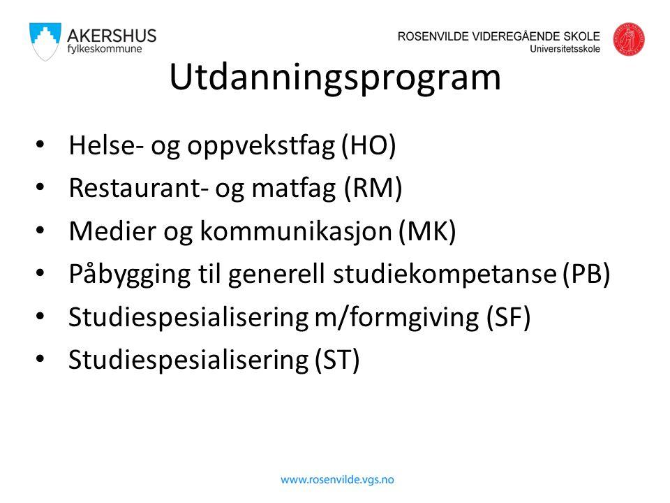 Utdanningsprogram Helse- og oppvekstfag (HO) Restaurant- og matfag (RM) Medier og kommunikasjon (MK) Påbygging til generell studiekompetanse (PB) Studiespesialisering m/formgiving (SF) Studiespesialisering (ST)