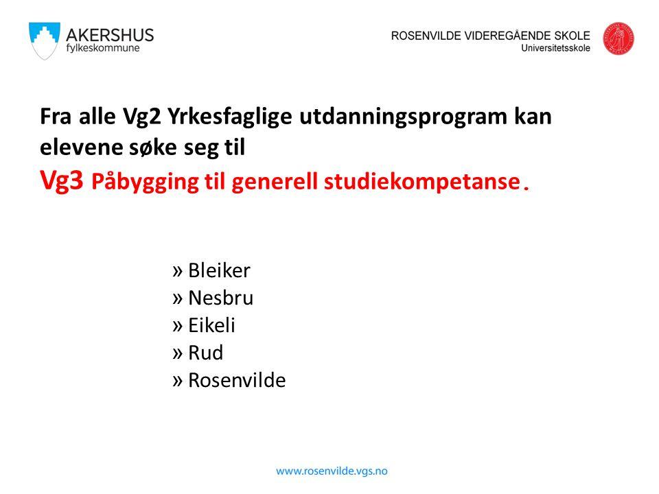 Fra alle Vg2 Yrkesfaglige utdanningsprogram kan elevene søke seg til Vg3 Påbygging til generell studiekompetanse. » Bleiker » Nesbru » Eikeli » Rud »