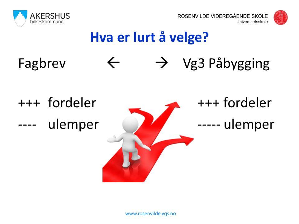 Hva er lurt å velge Fagbrev   Vg3 Påbygging +++fordeler+++ fordeler ----ulemper----- ulemper