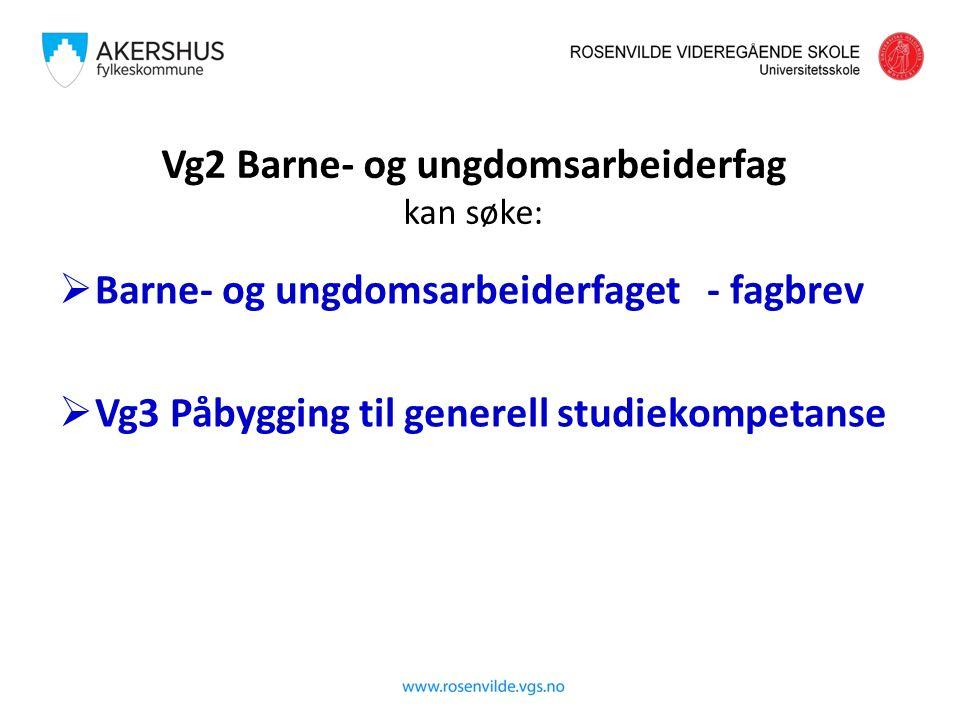 Vg2 Barne- og ungdomsarbeiderfag kan søke:  Barne- og ungdomsarbeiderfaget - fagbrev  Vg3 Påbygging til generell studiekompetanse