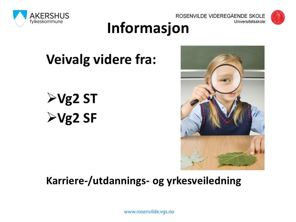 Informasjon Veivalg videre fra:  Vg2 ST  Vg2 SF Karriere-/utdannings- og yrkesveiledning