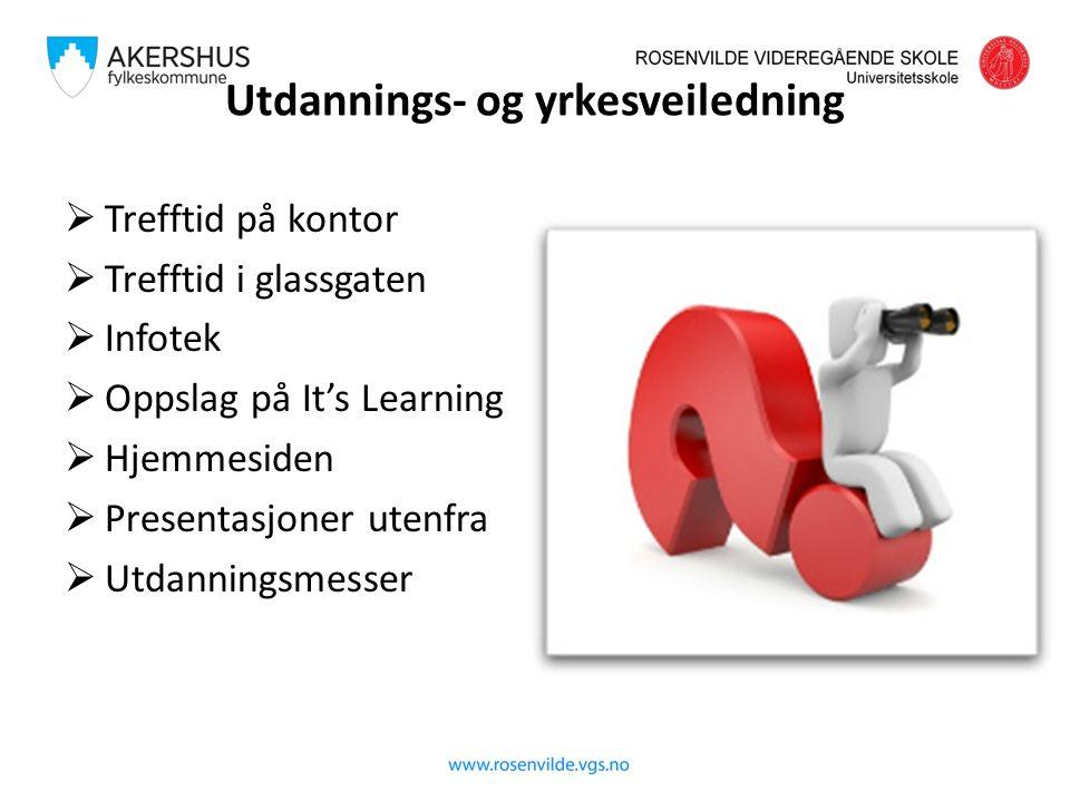 Utdannings- og yrkesveiledning  Trefftid på kontor  Trefftid i glassgaten  Infotek  Oppslag på It's Learning  Hjemmesiden  Presentasjoner utenfra  Utdanningsmesser