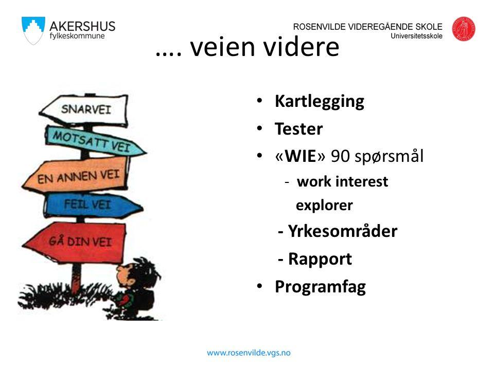 …. veien videre Kartlegging Tester «WIE» 90 spørsmål - work interest explorer - Yrkesområder - Rapport Programfag