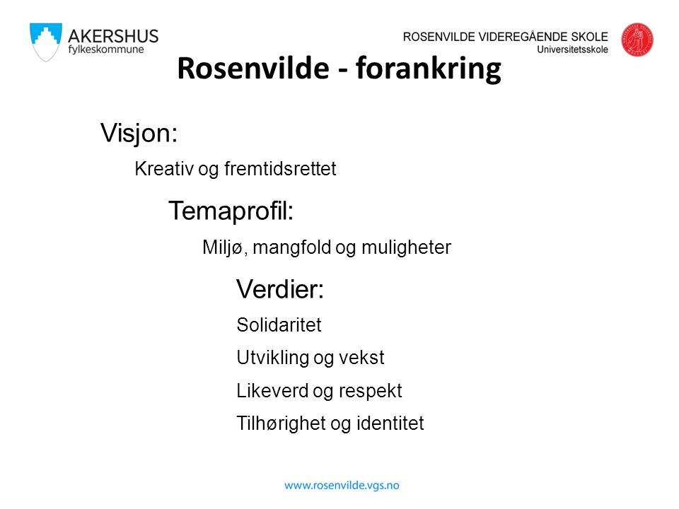 SKOLENS SATSINGSOMRÅDER 2015-16