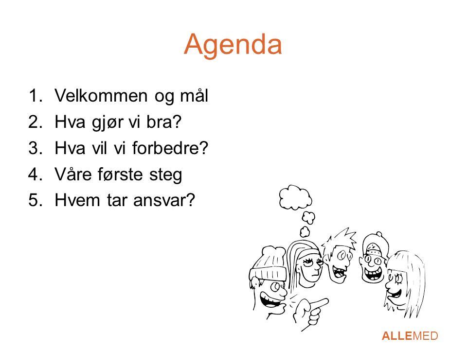 Agenda 1.Velkommen og mål 2.Hva gjør vi bra? 3.Hva vil vi forbedre? 4.Våre første steg 5.Hvem tar ansvar?