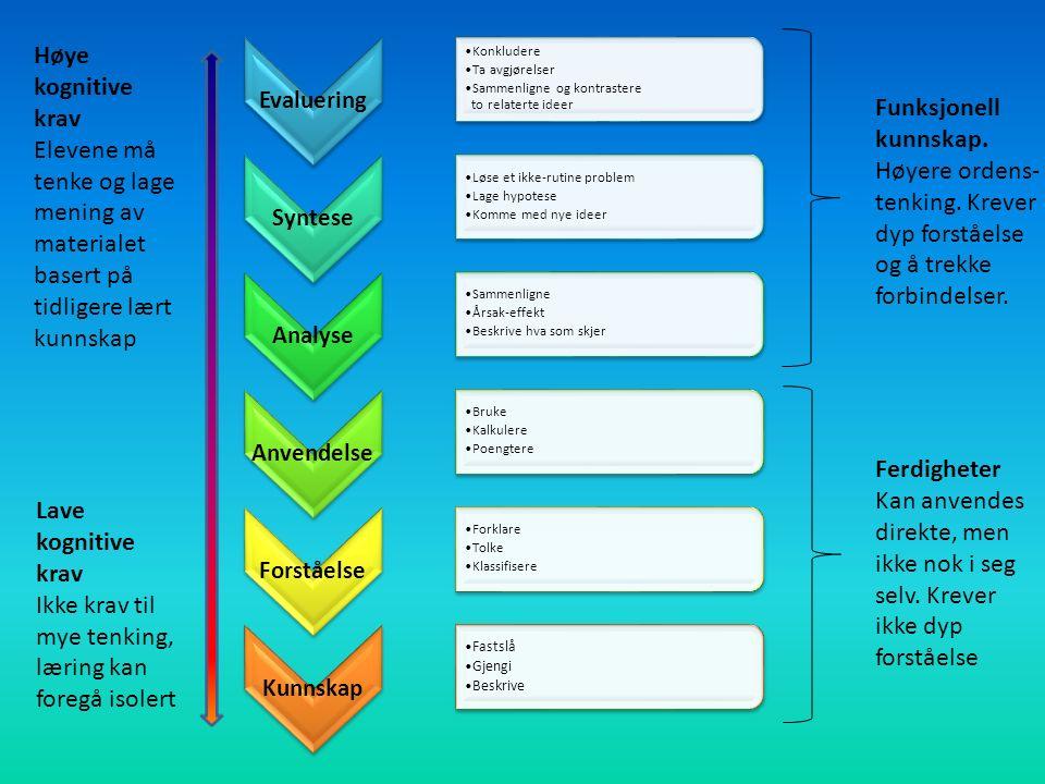 Evaluering Konkludere Ta avgjørelser Sammenligne og kontrastere to relaterte ideer Syntese Løse et ikke-rutine problem Lage hypotese Komme med nye ideer Analyse Sammenligne Årsak-effekt Beskrive hva som skjer Anvendel se Bruke Kalkulere Poengtere Forståelse Forklare Tolke Klassifisere Kunnskap Fastslå Gjengi Beskrive Ferdigheter Kan anvendes direkte, men ikke nok i seg selv.