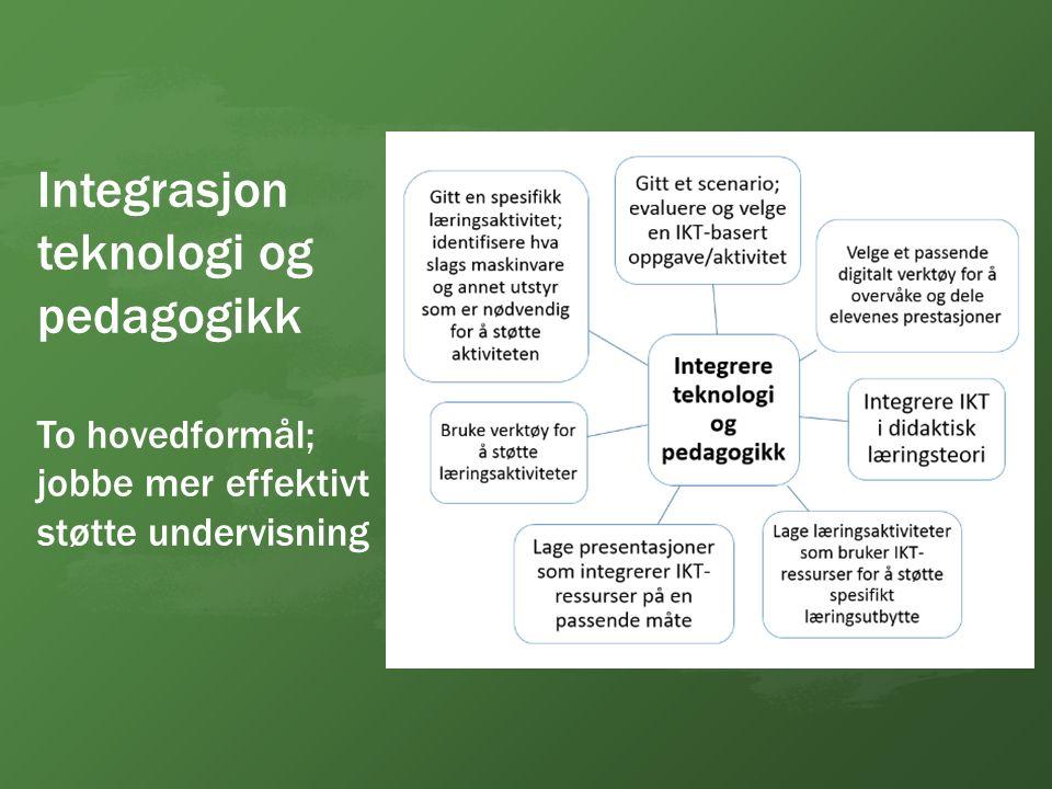 Integrasjon teknologi og pedagogikk To hovedformål; jobbe mer effektivt støtte undervisning