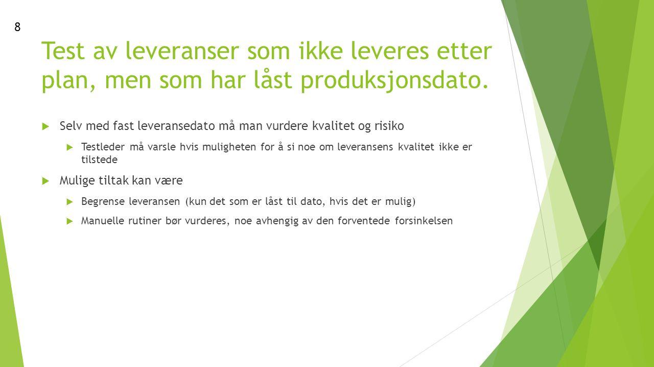 Test av leveranser som ikke leveres etter plan, men som har låst produksjonsdato.