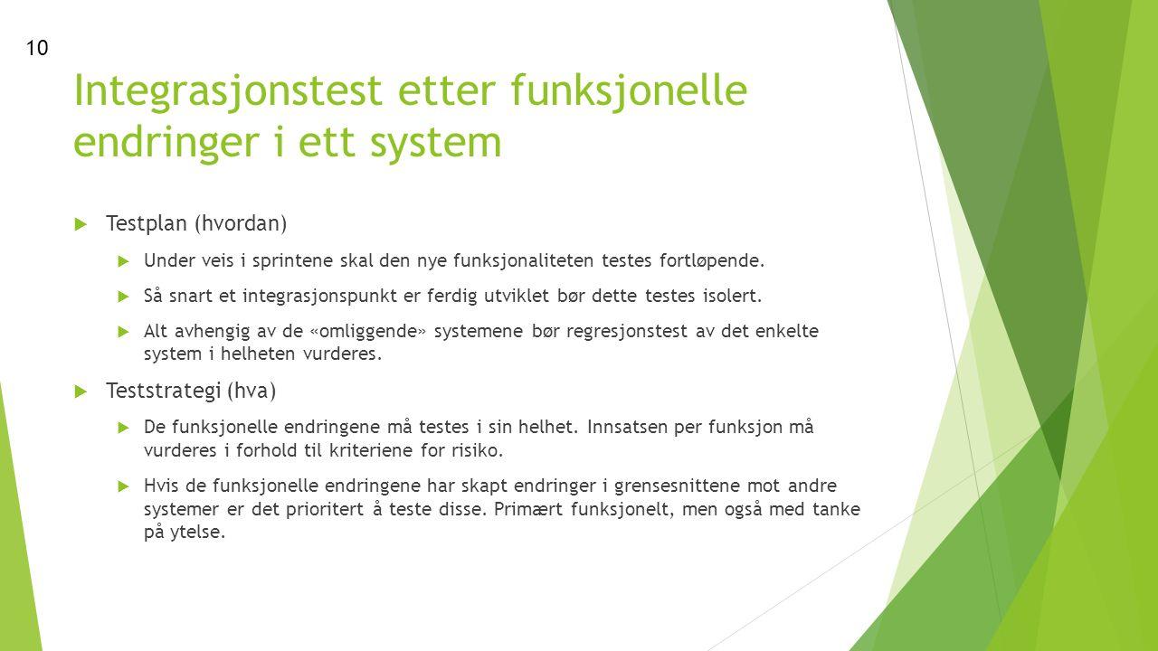 Integrasjonstest etter funksjonelle endringer i ett system  Testplan (hvordan)  Under veis i sprintene skal den nye funksjonaliteten testes fortløpende.