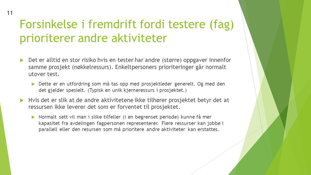 Forsinkelse i fremdrift fordi testere (fag) prioriterer andre aktiviteter  Det er alltid en stor risiko hvis en tester har andre (større) oppgaver innenfor samme prosjekt (nøkkelressurs).