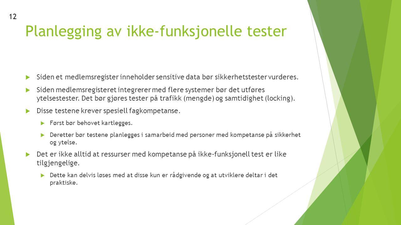 Planlegging av ikke-funksjonelle tester  Siden et medlemsregister inneholder sensitive data bør sikkerhetstester vurderes.