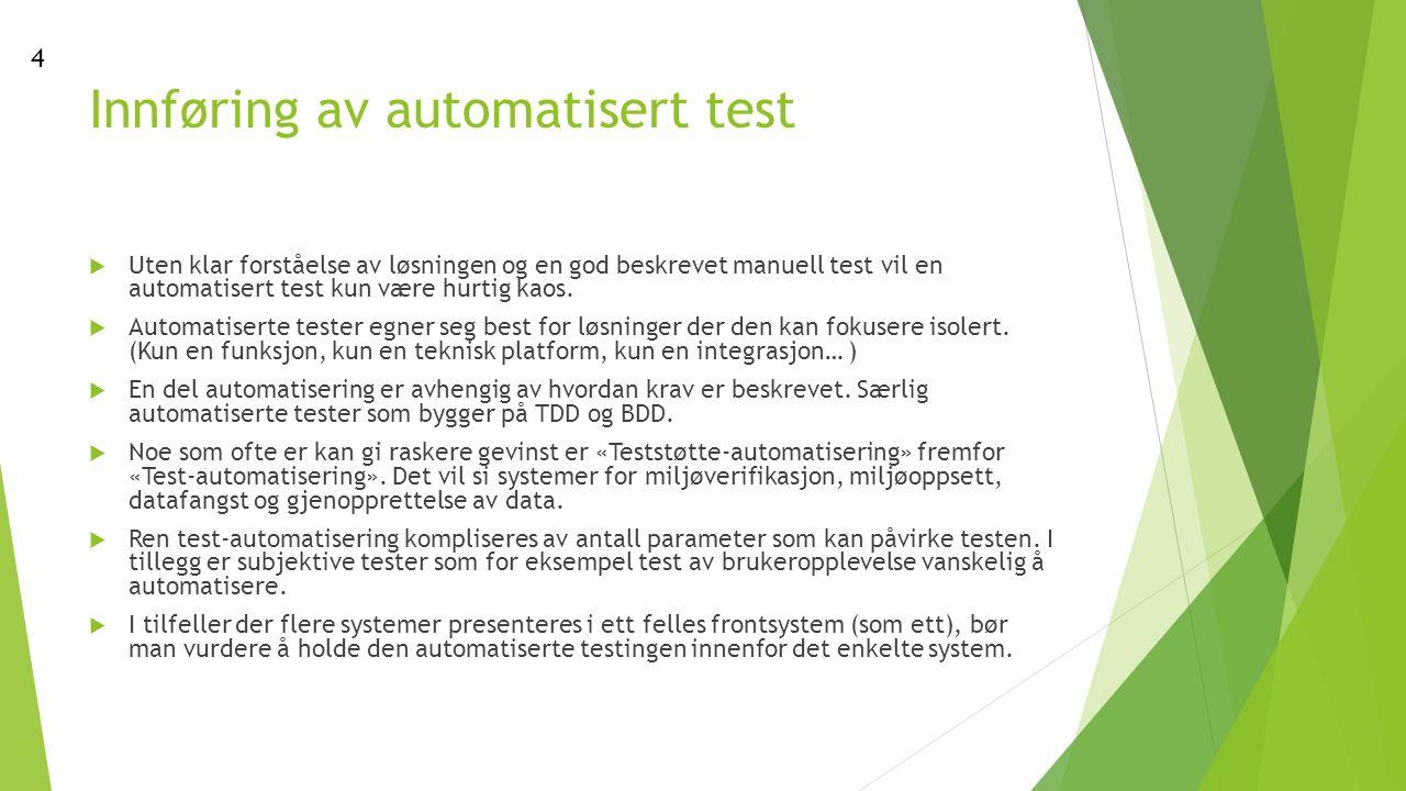 Innføring av automatisert test  Uten klar forståelse av løsningen og en god beskrevet manuell test vil en automatisert test kun være hurtig kaos.