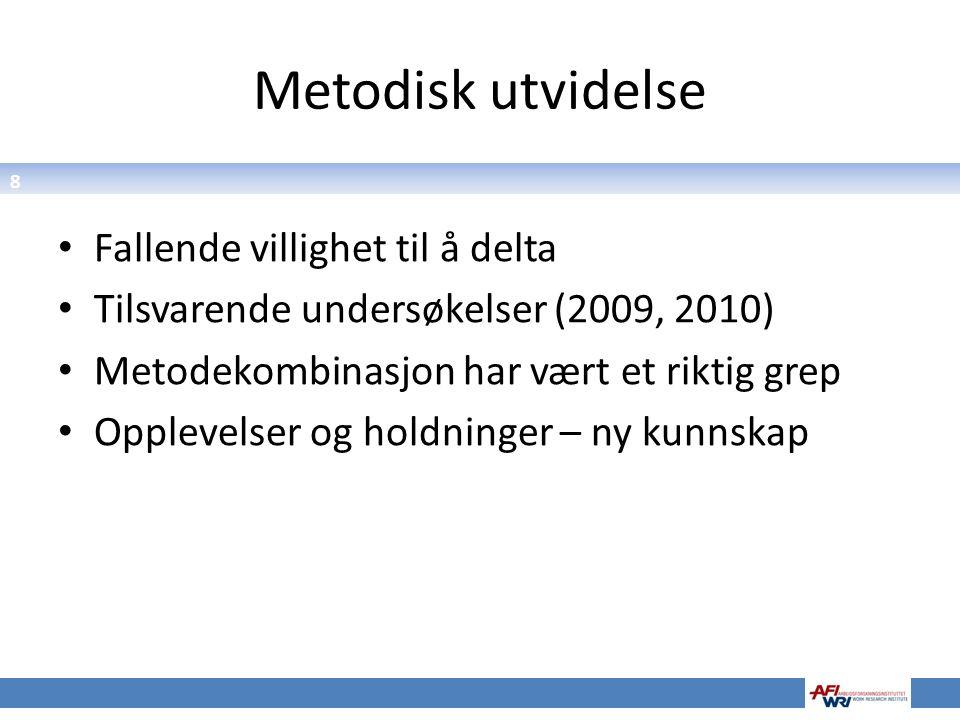 8 Metodisk utvidelse Fallende villighet til å delta Tilsvarende undersøkelser (2009, 2010) Metodekombinasjon har vært et riktig grep Opplevelser og ho