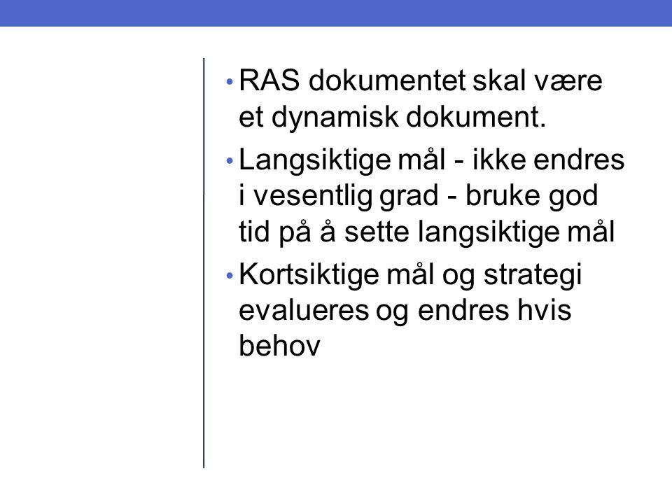 RAS dokumentet skal være et dynamisk dokument.