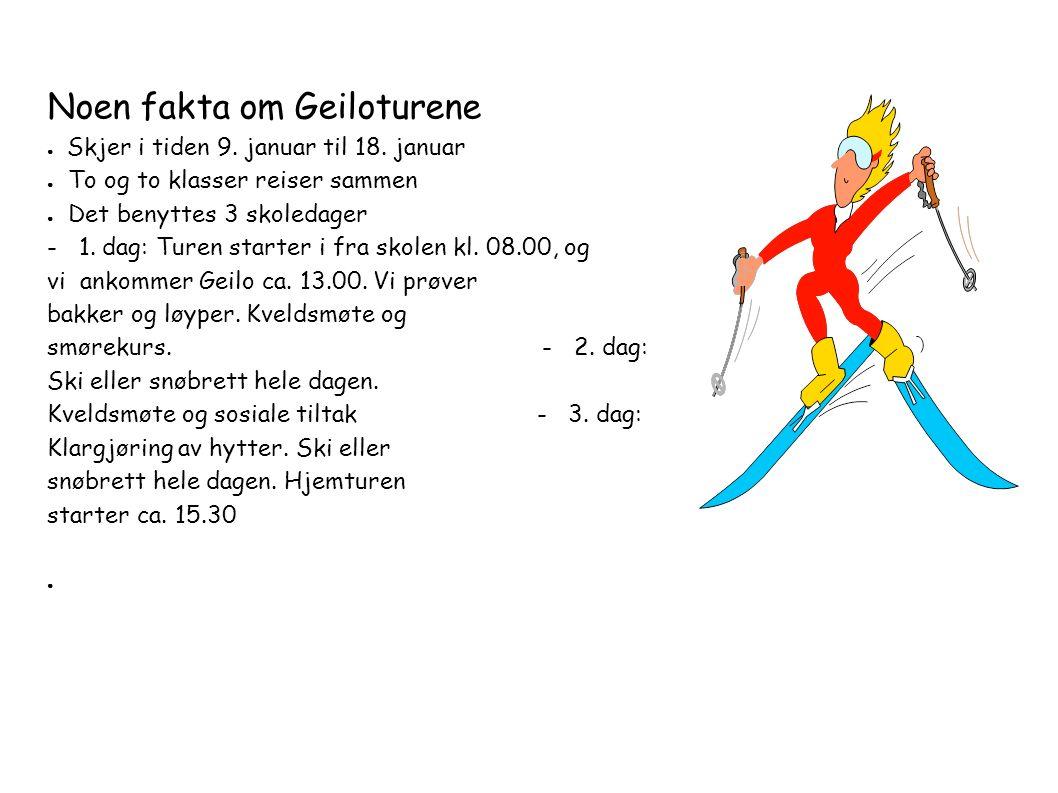 Noen fakta om Geiloturene ● Skjer i tiden 9. januar til 18.
