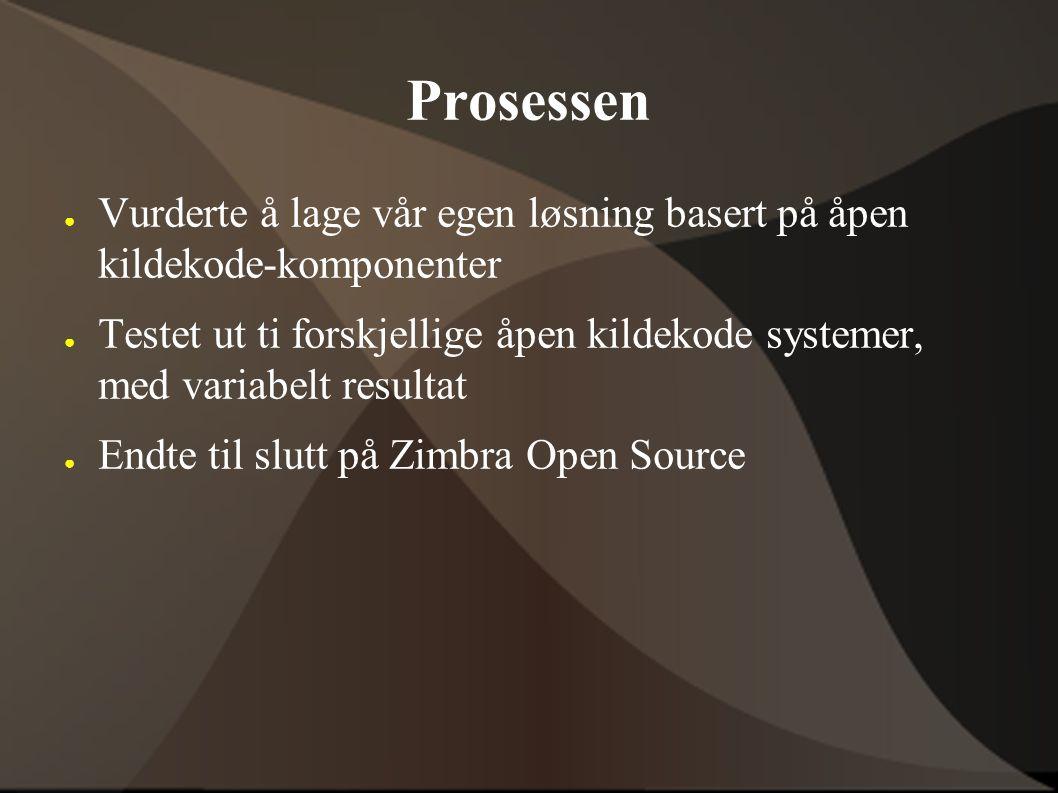 Prosessen ● Vurderte å lage vår egen løsning basert på åpen kildekode-komponenter ● Testet ut ti forskjellige åpen kildekode systemer, med variabelt resultat ● Endte til slutt på Zimbra Open Source