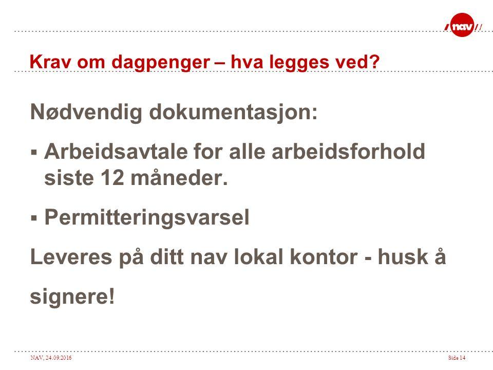 NAV, 24.09.2016Side 14 Krav om dagpenger – hva legges ved.