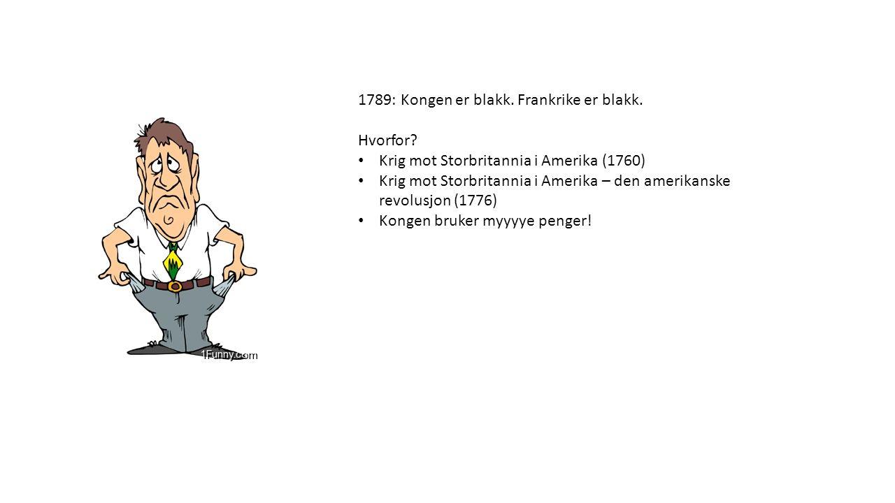 1789: Kongen er blakk. Frankrike er blakk. Hvorfor? Krig mot Storbritannia i Amerika (1760) Krig mot Storbritannia i Amerika – den amerikanske revolus