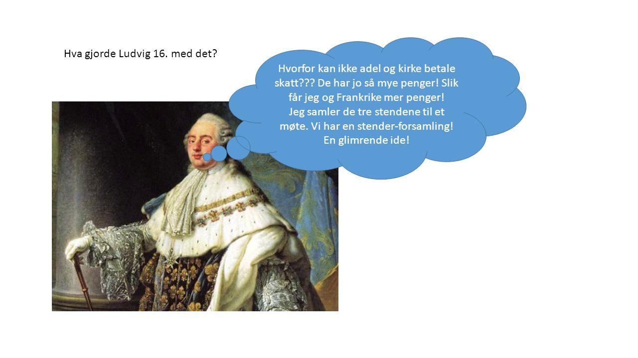 Hva gjorde Ludvig 16. med det? Hvorfor kan ikke adel og kirke betale skatt??? De har jo så mye penger! Slik får jeg og Frankrike mer penger! Jeg samle
