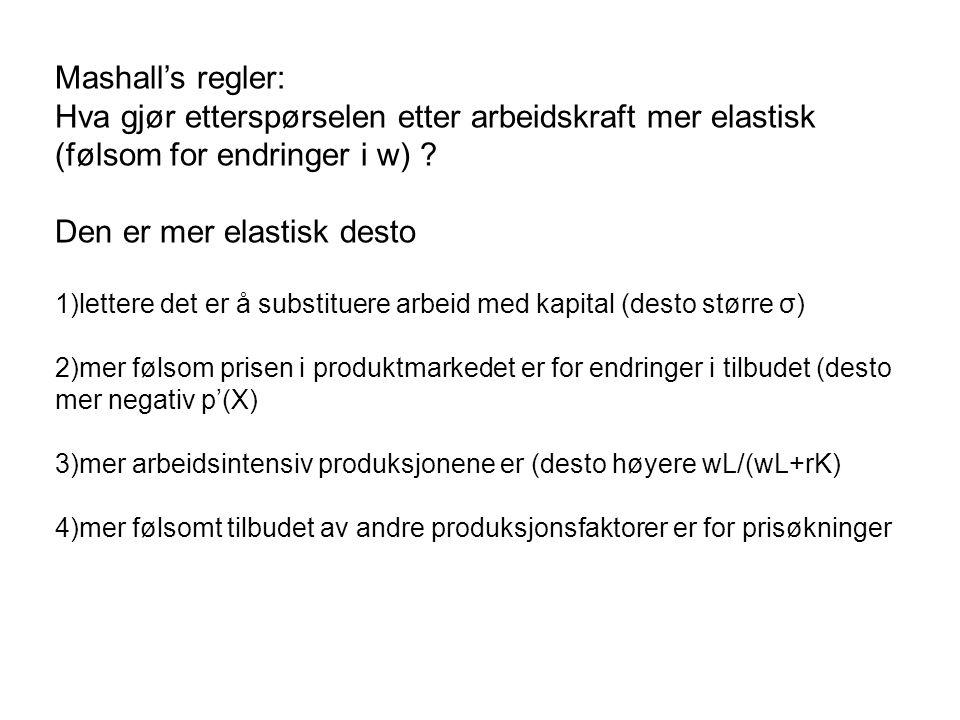 Mashall's regler: Hva gjør etterspørselen etter arbeidskraft mer elastisk (følsom for endringer i w) .