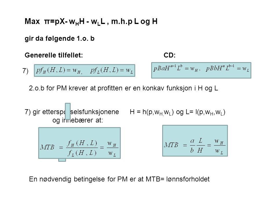 7) gir etterspørselsfunksjonene H = h(p,w H, w L ) og L= l(p,w H,w L ) og innebærer at: Max π=pX- w H H - w L L, m.h.p L og H gir da følgende 1.o.