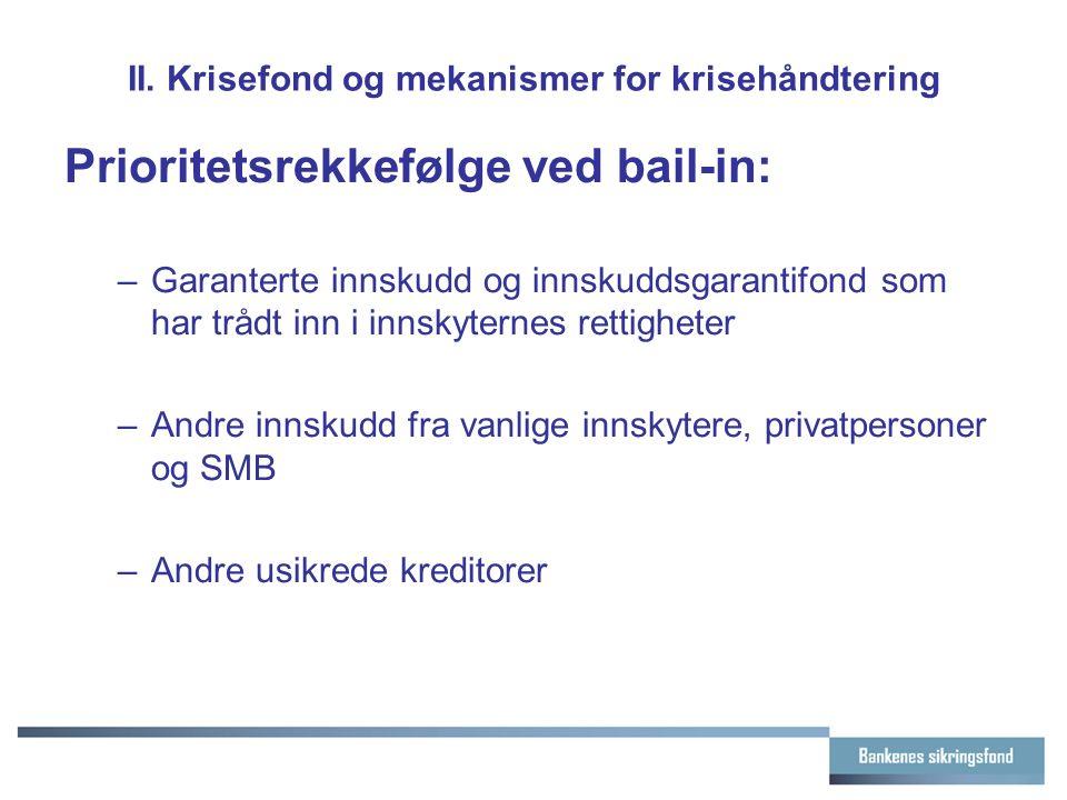II. Krisefond og mekanismer for krisehåndtering Prioritetsrekkefølge ved bail-in: –Garanterte innskudd og innskuddsgarantifond som har trådt inn i inn