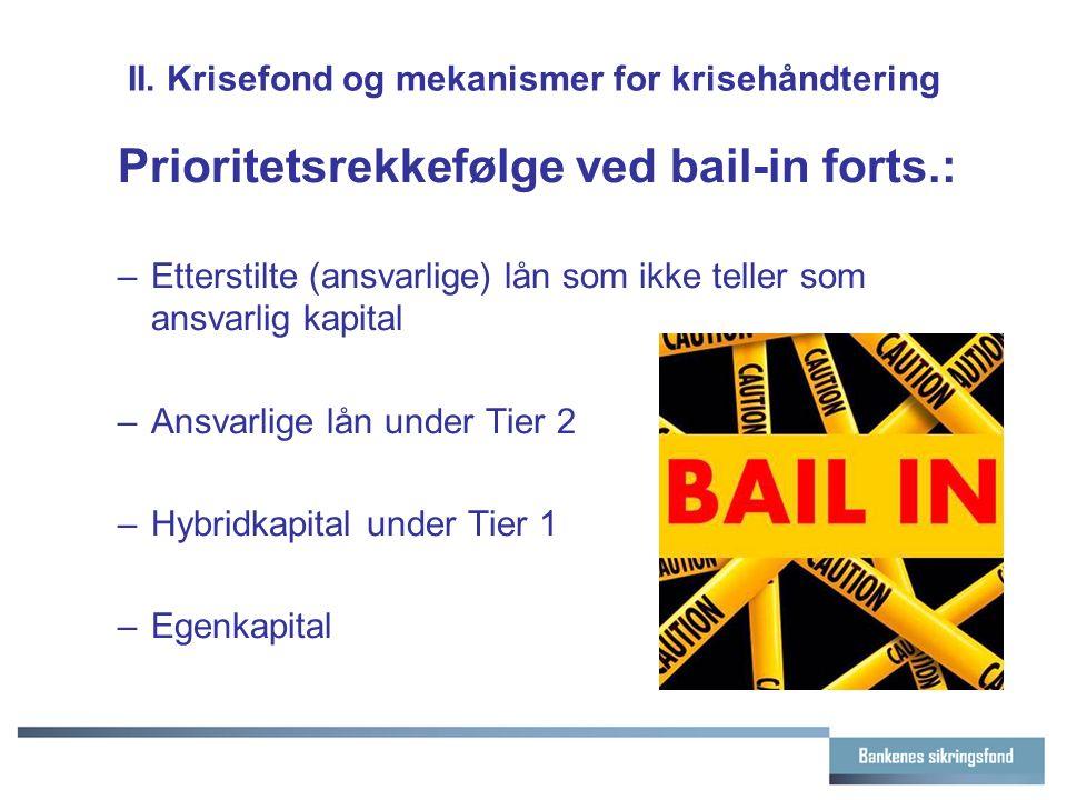 II. Krisefond og mekanismer for krisehåndtering Prioritetsrekkefølge ved bail-in forts.: –Etterstilte (ansvarlige) lån som ikke teller som ansvarlig k