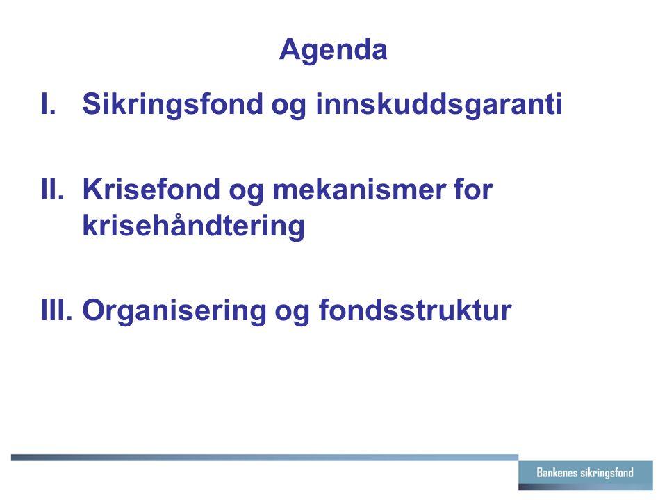 Agenda I.Sikringsfond og innskuddsgaranti II.Krisefond og mekanismer for krisehåndtering III.Organisering og fondsstruktur