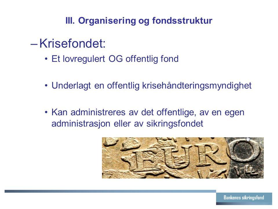 III. Organisering og fondsstruktur –Krisefondet: Et lovregulert OG offentlig fond Underlagt en offentlig krisehåndteringsmyndighet Kan administreres a