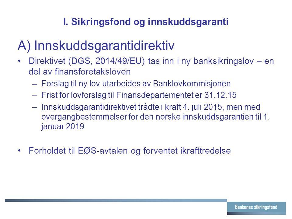 I. Sikringsfond og innskuddsgaranti A) Innskuddsgarantidirektiv Direktivet (DGS, 2014/49/EU) tas inn i ny banksikringslov – en del av finansforetakslo