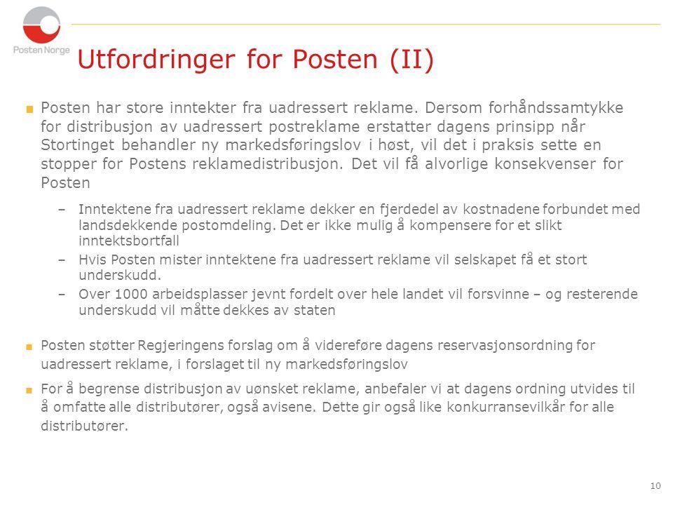 10 Utfordringer for Posten (II)  Posten har store inntekter fra uadressert reklame.