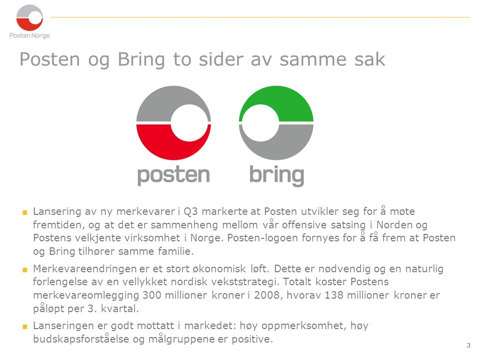 14 konsern post logistikk IKT Segmentstruktur for Posten