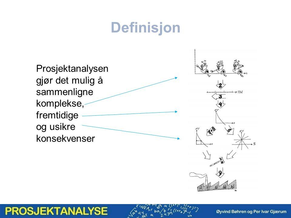 Definisjon Prosjektanalysen gjør det mulig å sammenligne komplekse, fremtidige og usikre konsekvenser