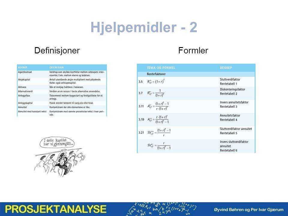 Hjelpemidler - 2 DefinisjonerFormler