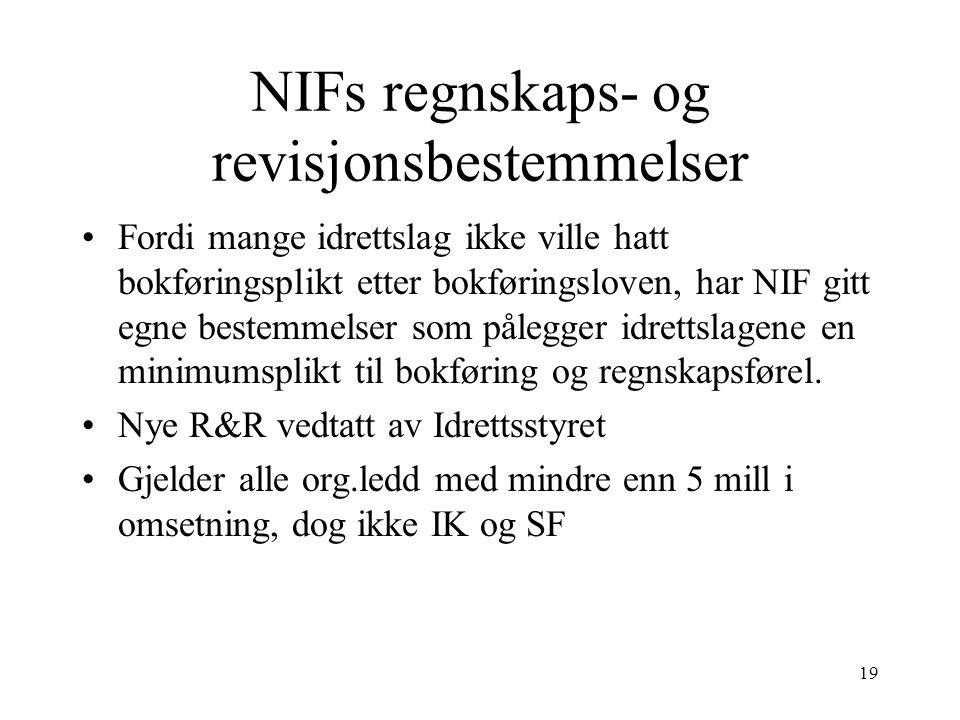 NIFs regnskaps- og revisjonsbestemmelser Fordi mange idrettslag ikke ville hatt bokføringsplikt etter bokføringsloven, har NIF gitt egne bestemmelser