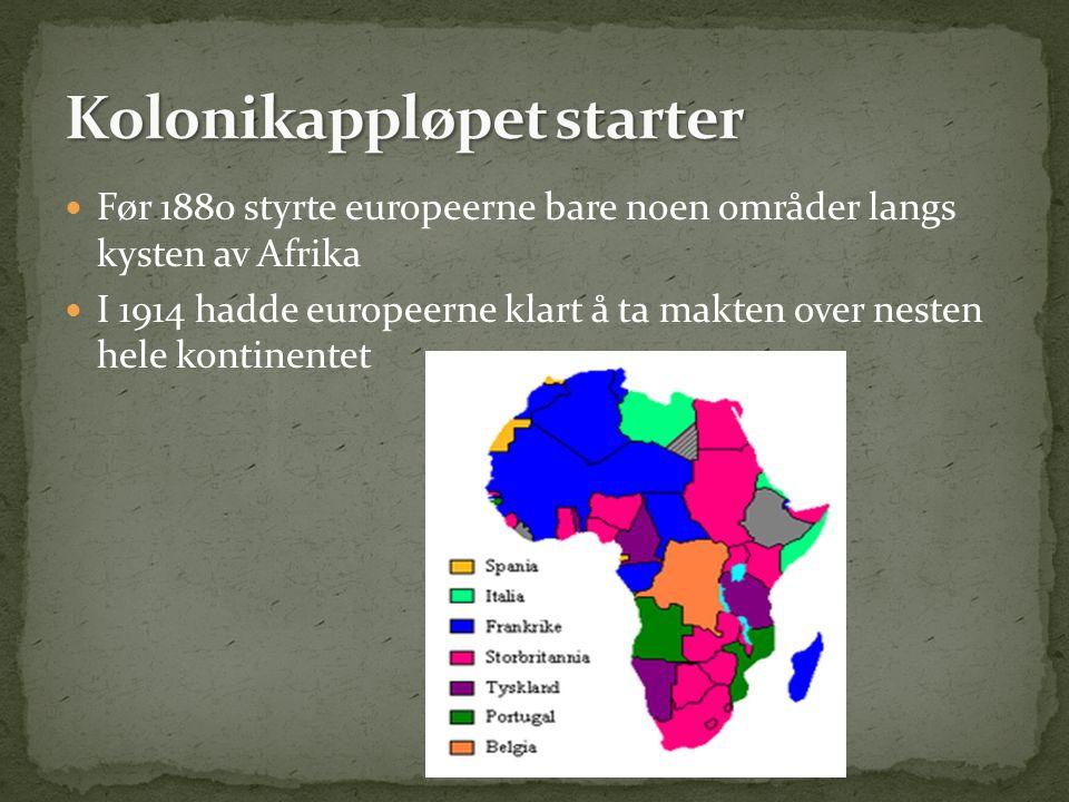 Før 1880 styrte europeerne bare noen områder langs kysten av Afrika I 1914 hadde europeerne klart å ta makten over nesten hele kontinentet