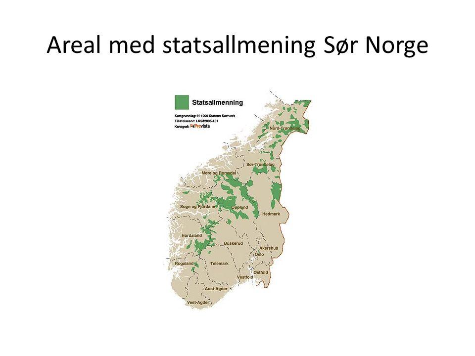 Areal med statsallmening Sør Norge