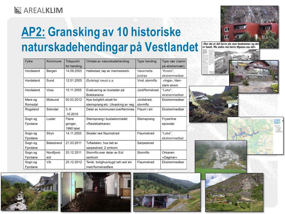AP2: Gransking av 10 historiske naturskadehendingar på Vestlandet