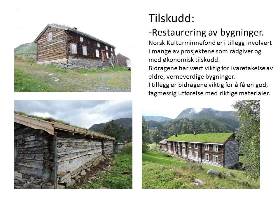 Tilskudd: - Restaurering av bygninger.
