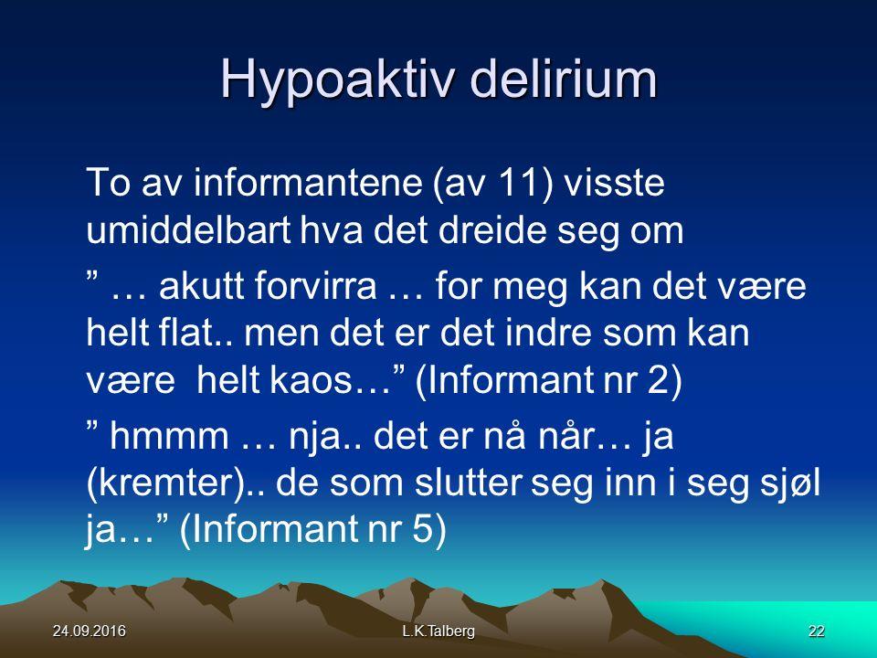 Hypoaktiv delirium To av informantene (av 11) visste umiddelbart hva det dreide seg om … akutt forvirra … for meg kan det være helt flat..