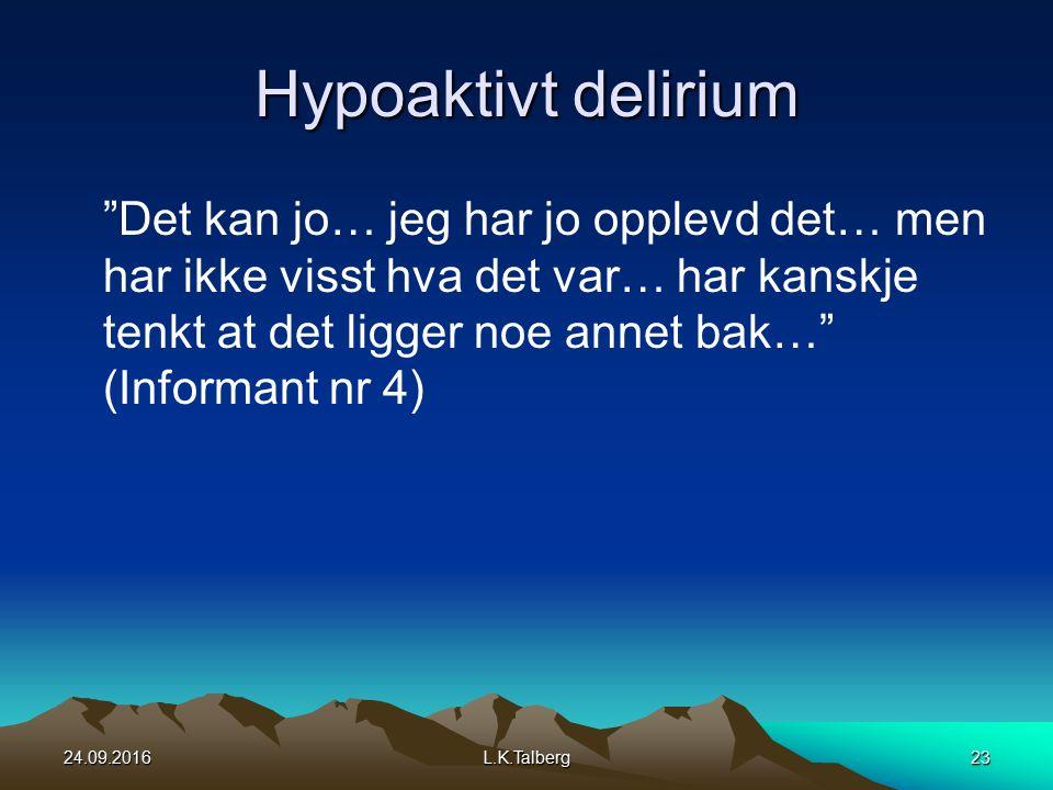 Hypoaktivt delirium Det kan jo… jeg har jo opplevd det… men har ikke visst hva det var… har kanskje tenkt at det ligger noe annet bak… (Informant nr 4) 24.09.2016L.K.Talberg23