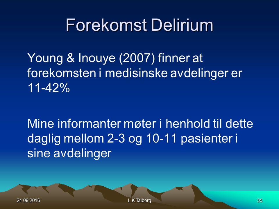 Forekomst Delirium Young & Inouye (2007) finner at forekomsten i medisinske avdelinger er 11-42% Mine informanter møter i henhold til dette daglig mellom 2-3 og 10-11 pasienter i sine avdelinger 24.09.2016L.K.Talberg35