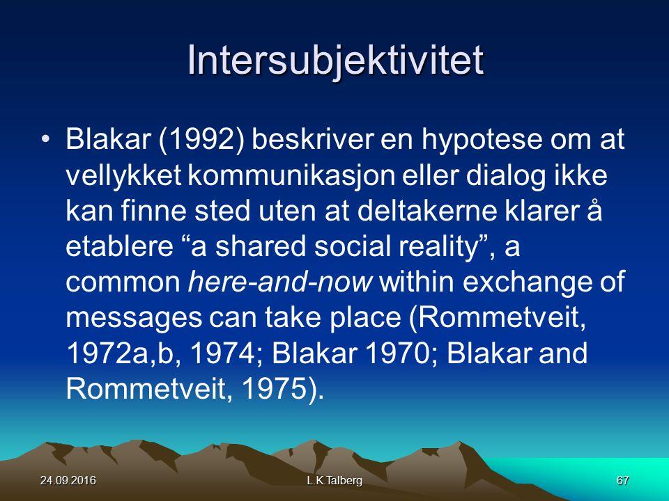 Intersubjektivitet Blakar (1992) beskriver en hypotese om at vellykket kommunikasjon eller dialog ikke kan finne sted uten at deltakerne klarer å etablere a shared social reality , a common here-and-now within exchange of messages can take place (Rommetveit, 1972a,b, 1974; Blakar 1970; Blakar and Rommetveit, 1975).