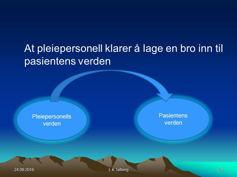 At pleiepersonell klarer å lage en bro inn til pasientens verden Pleiepersonells verden Pasientens verden 24.09.2016L.K.Talberg79