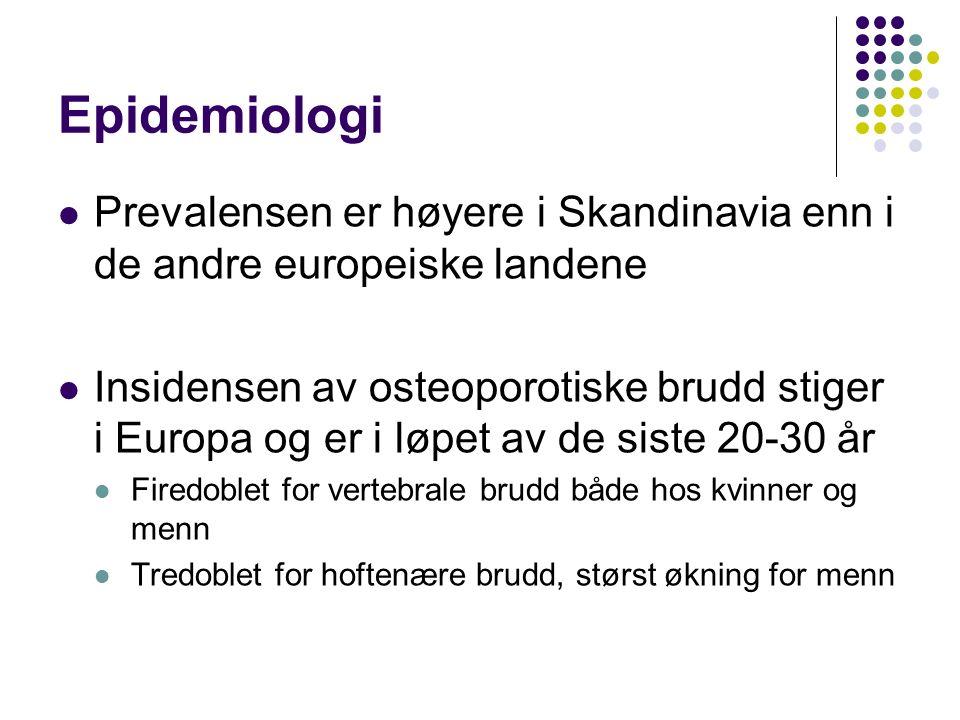 Epidemiologi Prevalensen er høyere i Skandinavia enn i de andre europeiske landene Insidensen av osteoporotiske brudd stiger i Europa og er i løpet av de siste 20-30 år Firedoblet for vertebrale brudd både hos kvinner og menn Tredoblet for hoftenære brudd, størst økning for menn