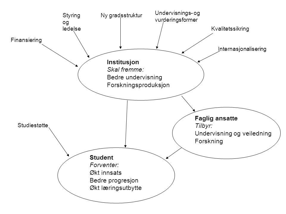 Tidsramme fra 2003 til 2006 Samarbeid mellom Rokkansenteret (UiB) og NIFU STEP Evalueringstema/delprosjekter: –Den nye gradsstrukturen –Undervisnings- og evalueringsformer –Styring og ledelse –Internasjonalisering –Insentivbasert finansiering –Kvalitetssikring –Studiegjennomføring Om evalueringen