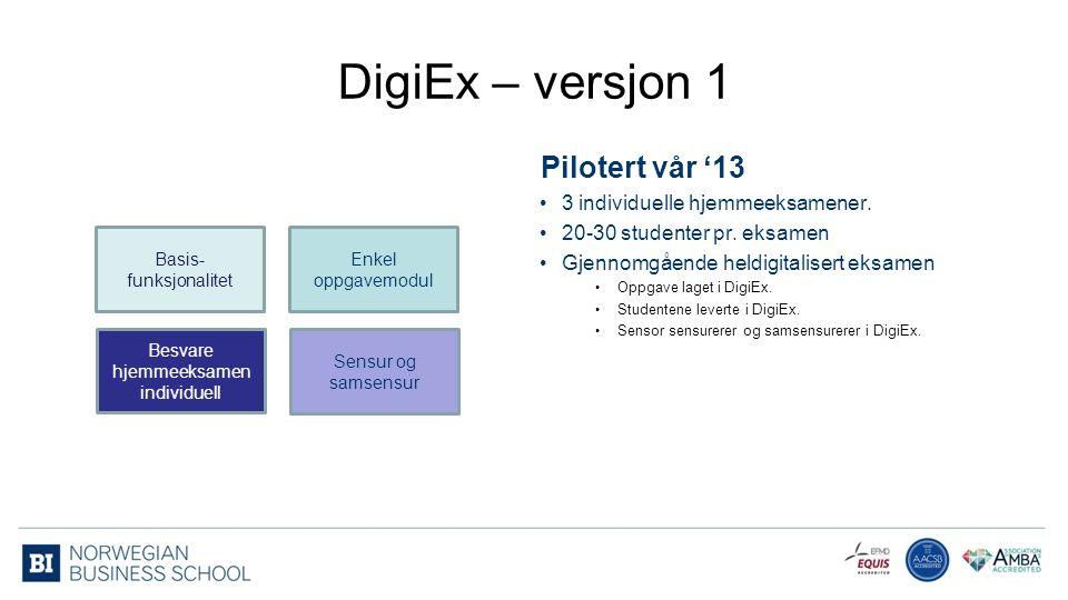 Enkel oppgavemodul Besvare hjemmeeksamen individuell Sensur og samsensur Basis- funksjonalitet DigiEx – versjon 1 3 individuelle hjemmeeksamener.