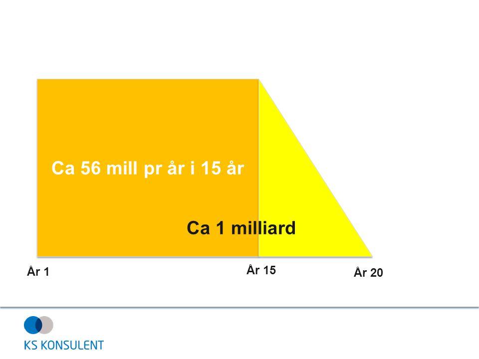Ca 56 mill pr år i 15 år År 1 År 15 År 20 Ca 1 milliard