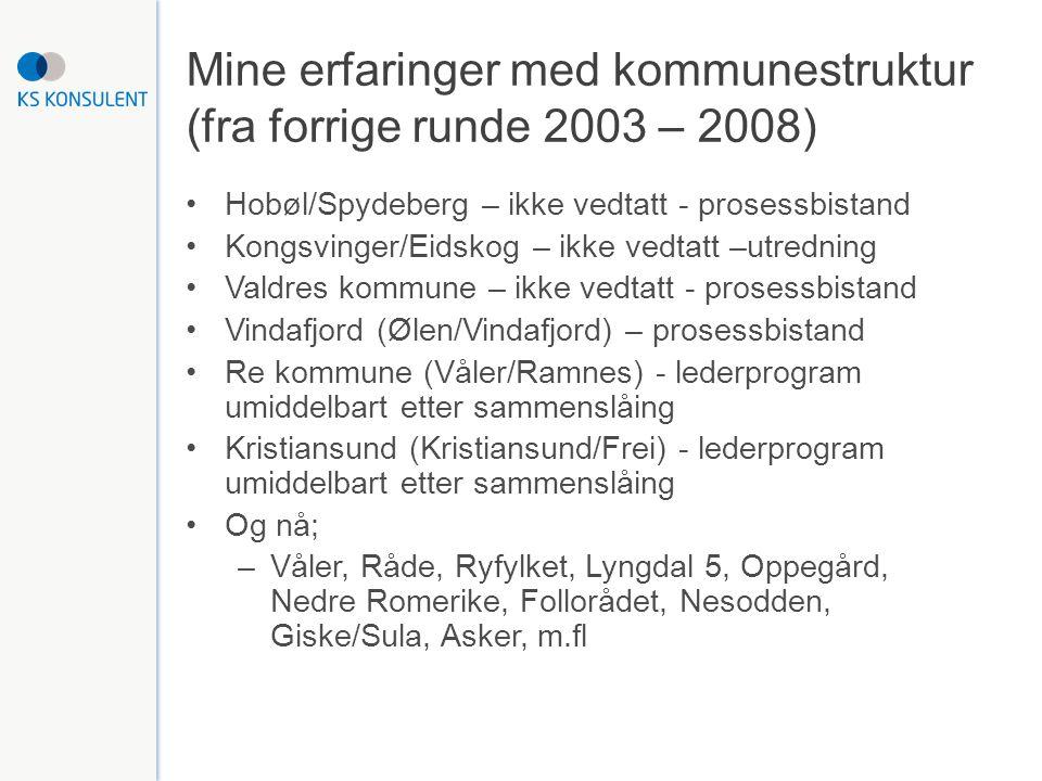 Mine erfaringer med kommunestruktur (fra forrige runde 2003 – 2008) Hobøl/Spydeberg – ikke vedtatt - prosessbistand Kongsvinger/Eidskog – ikke vedtatt –utredning Valdres kommune – ikke vedtatt - prosessbistand Vindafjord (Ølen/Vindafjord) – prosessbistand Re kommune (Våler/Ramnes) - lederprogram umiddelbart etter sammenslåing Kristiansund (Kristiansund/Frei) - lederprogram umiddelbart etter sammenslåing Og nå; –Våler, Råde, Ryfylket, Lyngdal 5, Oppegård, Nedre Romerike, Follorådet, Nesodden, Giske/Sula, Asker, m.fl